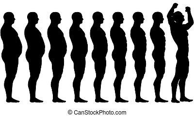הפסד, שקלל, התאם, הצלחה, אחרי, דיאטה, שומן, לפני