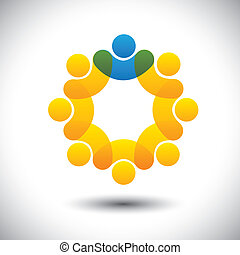 הצג, מושג, מפקח, תקציר, קהילה, מנהל, &, -, גם, vector., הסתובב, מנהיג, חברים, מנהיג, איקון, גרפי, צוות, זה, עובדים, איקונים, הנהגה, וכו', יכול, התחבר