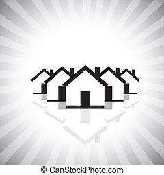 הצג, תעשיה, רכוש, שווק, &, דיורי, גם, תכונה, אמיתי, למכור, עסק, בניה, נדלן, לקנות, גרפי, זה, houses., icon(symbol), וכו', וקטור, יכול, תכונה, או