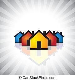 הצג, תעשיה, רכוש, graphic., icon(symbol)-, &, גם, תכונה, אמיתי, למכור, דוגמה של עסק, בניה, נדלן, houses(homes), צבעוני, לקנות, זה, וכו', וקטור, יכול, או