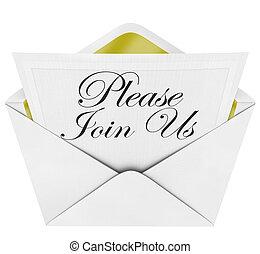 הצטרף, נא, פקיד, מעטפה, אותנו, ראה, הזמנה