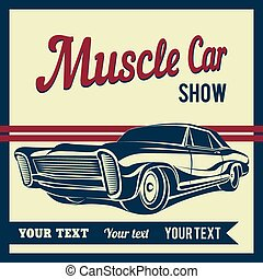 הראה, מכונית, דוגמה, וקטור, פוסטר, שריר