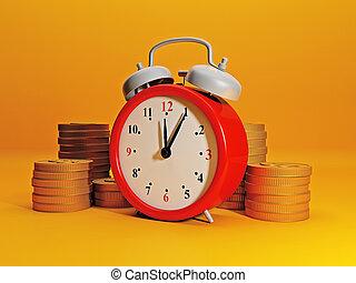 הרויח, קצר, עסק, שעון, יעיל, אזעקה, הכנסה, כסף., גדול, gold., זמן, התחבר, מסמל