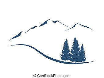 הרים, להראות, דוגמה, סגנן, פירס, נוף, אלפיני