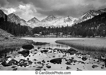 הר, דרמטי, נוף, שחור, לבן