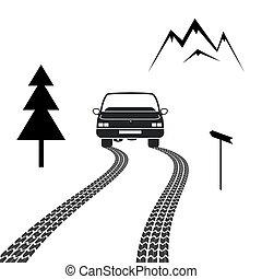 הר, התעייף, לנהוג, מכונית, מסלולים, דרך