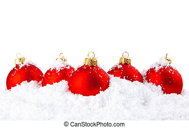 השלג, קערות, קישוט, לבן, חופשה, חג המולד, אדום