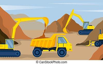 השלך אתר, צהוב, משאית, בניה, שופך, חופר, חול