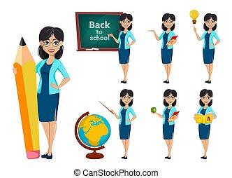 השקע, school., מורה, ציור היתולי, אישה, אופי