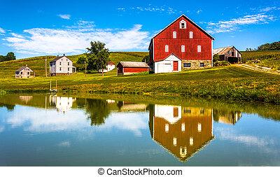 השתקפות, דיר, pennsylvania., יורק, מחוז, קטן, כפרי, בריכה, רפת