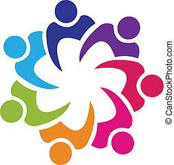 התאחדות, לוגו, וקטור, שיתוף פעולה, אנשים