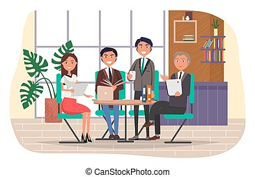 התחבר, אנשים של משרד, שיתוף פעולה, אנשי עסק, לחייך, ועידה, עסק, עובדים, קבץ