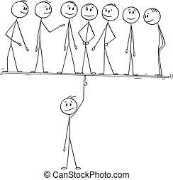 התחבר, הנהגה, וקטור, מושג, דוגמה, או, שלו, ציור היתולי, מנהיג, ניהול, לאזן, בקלות, מנהל, finger., איש, שיתוף פעולה