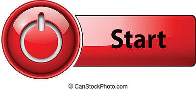 התחיל, button., איקון