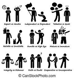 התנהגות, חיובי, בן אנוש, ניגוד