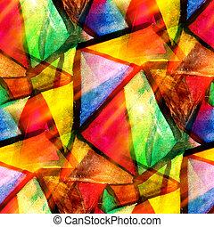 וואטארכולור, משולש, צבע, תבנית, תקציר, seamless, טקסטורה, השקה, צבע, צהוב, עצב, נייר, רקע, ירוק, אומנות, אדום