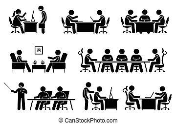 ועידה, איש עסקים, discussion., פגישה של עסק