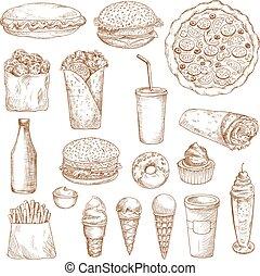 וקטור, אוכל, מהיר, איקונים, רשום