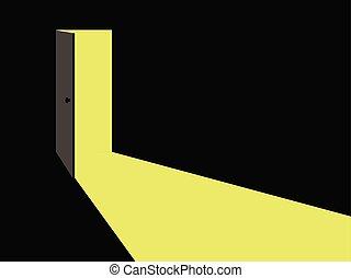 וקטור, אור, door., פתוח, illustration.