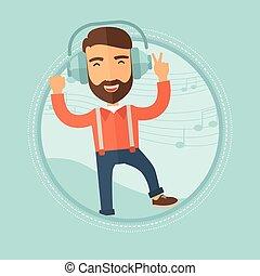וקטור, אזניות, illustration., איש, לרקוד