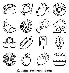 וקטור, איקונים, לבן, רקע., קבע, אוכל