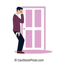 וקטור, איש עסקים, עצב, דלת, ציור היתולי, כאב ראש