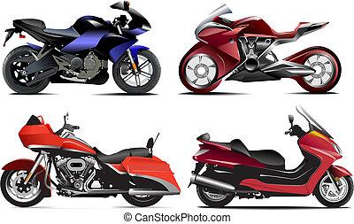 וקטור, ארבעה, מודרני, דוגמה, motorcycle.