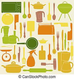 וקטור, בישול, כלים, דוגמה, מטבח