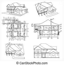 וקטור, בתים, קבע, blueprint.