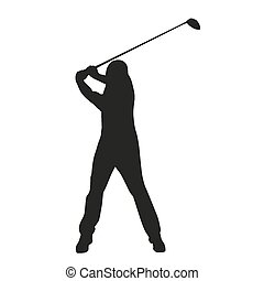 וקטור, גולף, שחקן גולף, צללית, swing.
