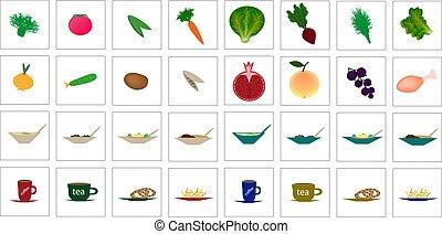וקטור, דוגמה, אוכל, איקונים, קבע, fruits., ירקות