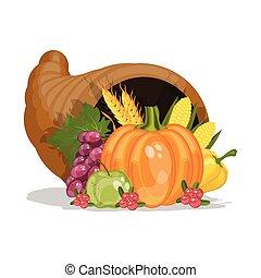וקטור, דוגמה, קרן, cornucopia., הודיה, harvest., day., plenty., ציור היתולי