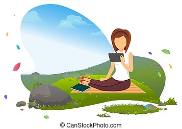 וקטור, הזמן, קדור, ebook, אישה קוראת, קורא