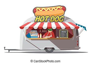 וקטור, חם, isolated., trailer., מהיר, כלב, אוכל., דוגמה