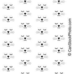 וקטור, חתול, seamless, דירה, צפה, תבנית, תאר
