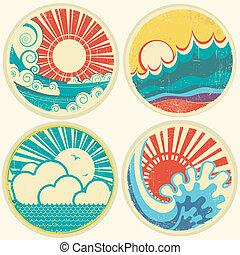 וקטור, ים, שמש, waves., סאיסכאף, איקונים, בציר, דוגמה