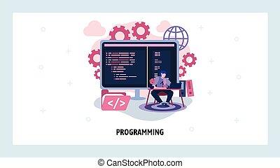 וקטור, כותב, concept., ג'אווה, רשת, אתר אינטרנט, אתר, מתכנת, תכנות, עצב, התפתחות, דוגמה, תוכנה, נחיתה, language., האקר, template., code., הנדס, עמוד, מחשב, מושג
