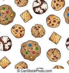 וקטור, לבן, elements., סיגנון, רקע., טבעי, עוגיות, רשום, pattern., seamless, illustraation, שונה, אוכל, מתוק, אפה