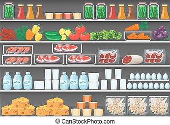 וקטור, מדפים, אוכל, מרכול, products., רקע