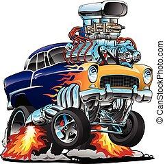 וקטור, מוט, גדול, קלאסי, חם, להבות, ציור היתולי, שריר, מכונית, דוגמה, מנוע