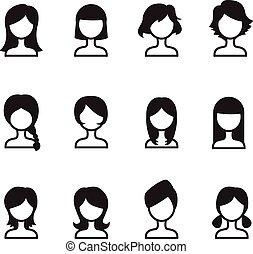 וקטור, סיגנון, אישה, איקונים, סמל, שיער קובע, iillustration