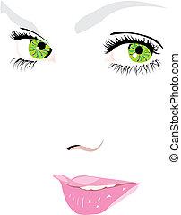וקטור, עיניים, צפה, אישה, ירוק, דוגמה