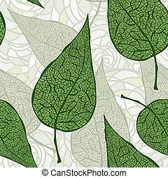 וקטור, עלים, ירוק, seamless, בציר