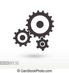 וקטור, עצב, לוגו, gears., חתום, icon., התכונן, נייד, דירה, רשת, infographics