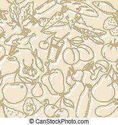 וקטור, פירות, ירקות, pattern., טבעי, seamless, אוכל