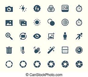 וקטור, צילום, התיחס, מצלמה, דיגיטלי, קבע, איקון