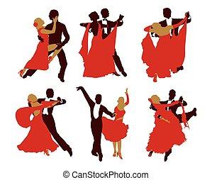 וקטור, צלליות, קבע, couples., לרקוד