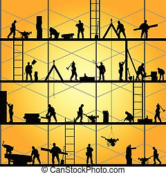 וקטור, צללית, עבודה, עובד, דוגמה, בניה