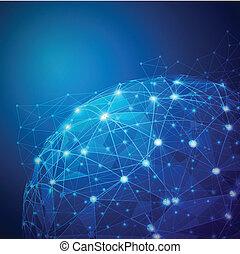 וקטור, רשת, דיגיטלי, רישות, גלובלי, דוגמה