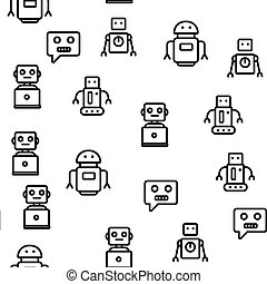 וקטור, תבנית, seamless, טכנולוגיה, רובוט, גבוה